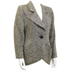 1980s Black and White Herringbone Wool Jacket with Color Specks
