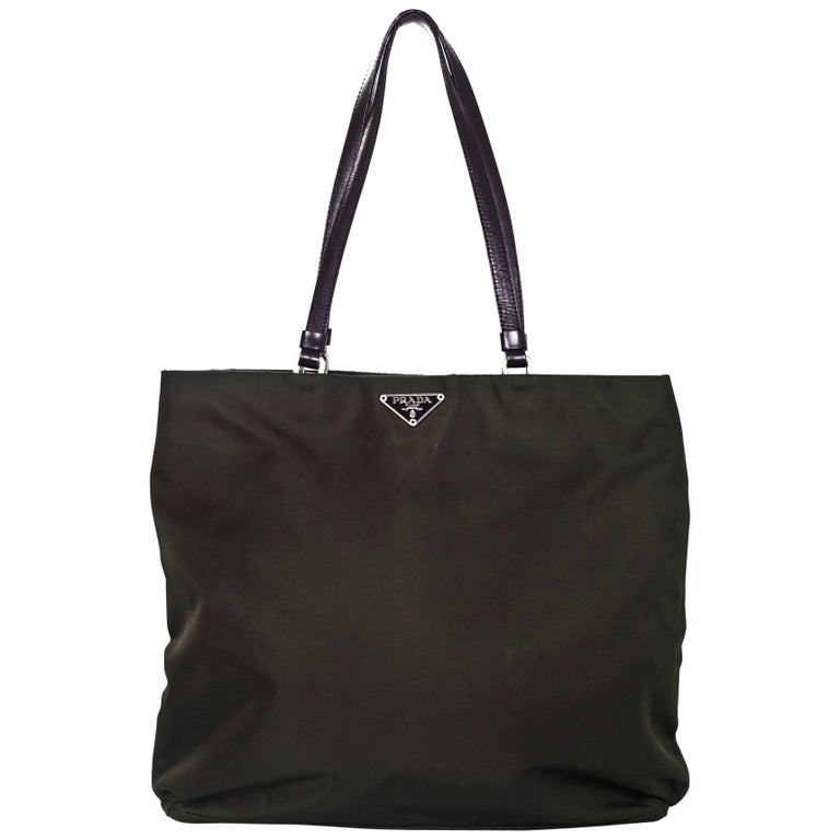 687256d22f352f Prada Dark Green Tessuto Nylon Tote Bag For Sale at 1stdibs