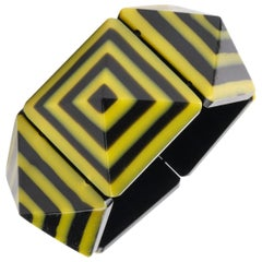 c.1980's Black & Yellow Lucite Pyramid Geometric Stretch Bracelet