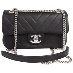 Chanel Mini Chevron Quilted Rectangular Flap Bag - black