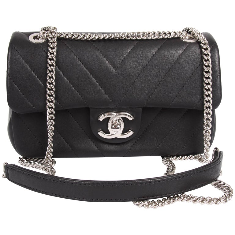 Chanel Mini Chevron Quilted Rectangular Flap Bag Black For