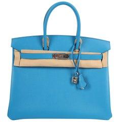 Hermes Birkin Bag Epsom 35 Bleu Zanzibar Palladium Hardware - blue