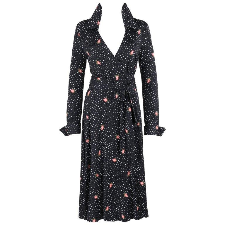DIANE VON FURSTENBERG c.1970s DVF Polkadot Rosebud Print Knit Iconic Wrap Dress