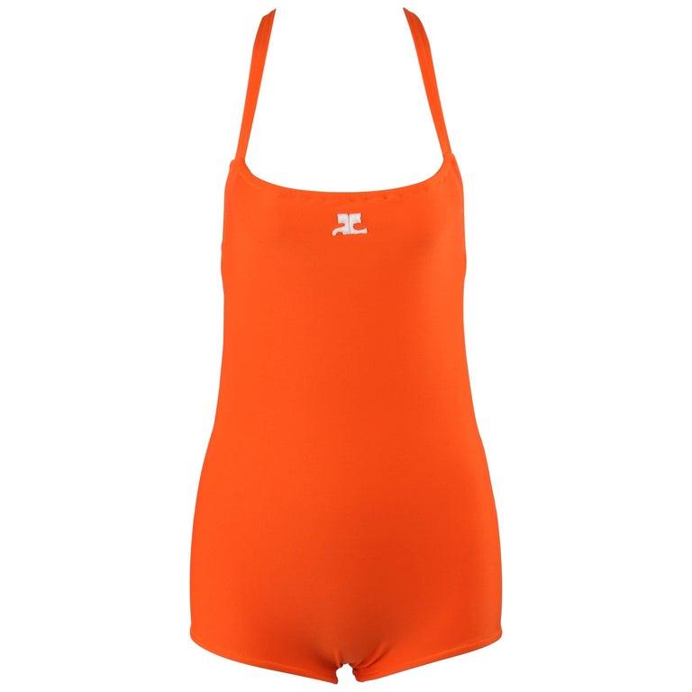 COURREGES c.1960's Orange Criss Cross Back One Piece Bathing Swimsuit