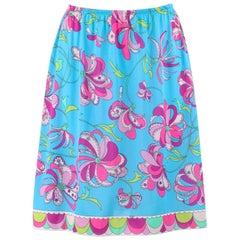 EMILIO PUCCI c.1960's Formfit Rogers Blue Multicolor Floral Print Slip Skirt
