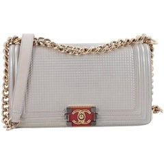Chanel Boy Flap Bag Cube Embossed Lambskin Old Medium