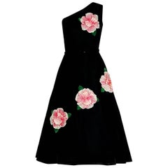 1950's Pink-Roses Floral Applique Black Velvet One Shoulder Belted Party Dress