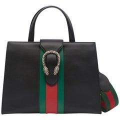 Gucci Dionysus Black Leather Top Handle Bag