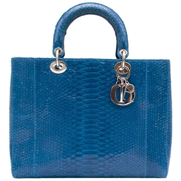 2255de2fea7 Lady Dior Electric Blue Python Tote Bag For Sale at 1stdibs