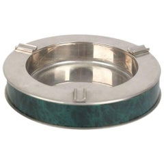 GUCCI VINTAGE Marbled Green & Silver Metal ROUND ASHTRAY