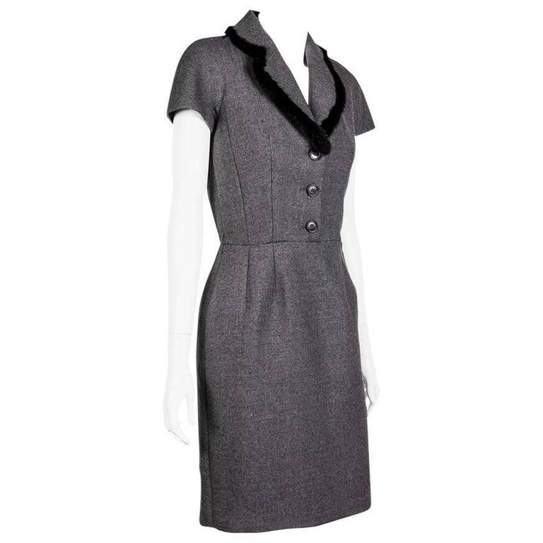 CHRISTIAN DIOR Sheath Dress in Gray Wool Size 36EU
