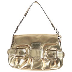 FENDI Gold Tone Leather B BIS BAG Shoulder Bag