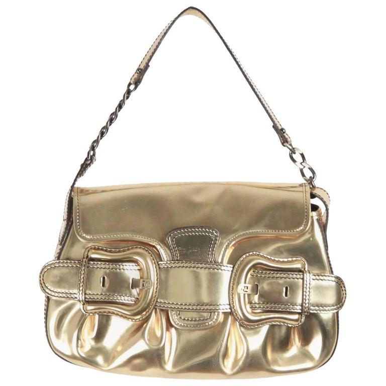 FENDI Gold Tone Leather B BIS BAG Shoulder Bag