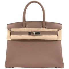 Hermes Birkin Etoupe Togo Leather 30 Bag