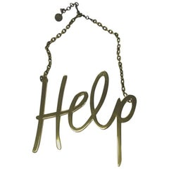 LANVIN Iconic 'HELP' Necklace in Gilded Metal