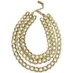 YVES SAINT LAURENT Triple Rows Necklace in Gilded Metal