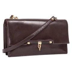HERMES Vintage Flap Bag in Brown Box Leather
