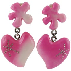 Christian Lacroix Vintage Candy Pink Heart Dangling Earrings