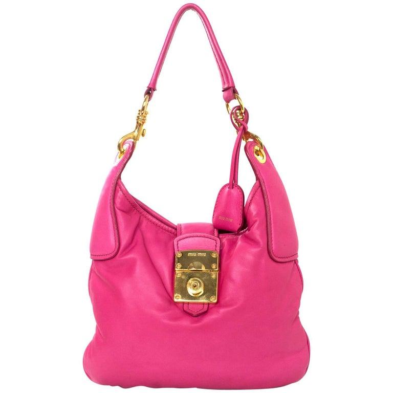 Miu Miu Pink Smooth Leather Push-Lock Shoulder Bag with DB