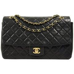 1990s Chanel Matelassé Black Leather Bag