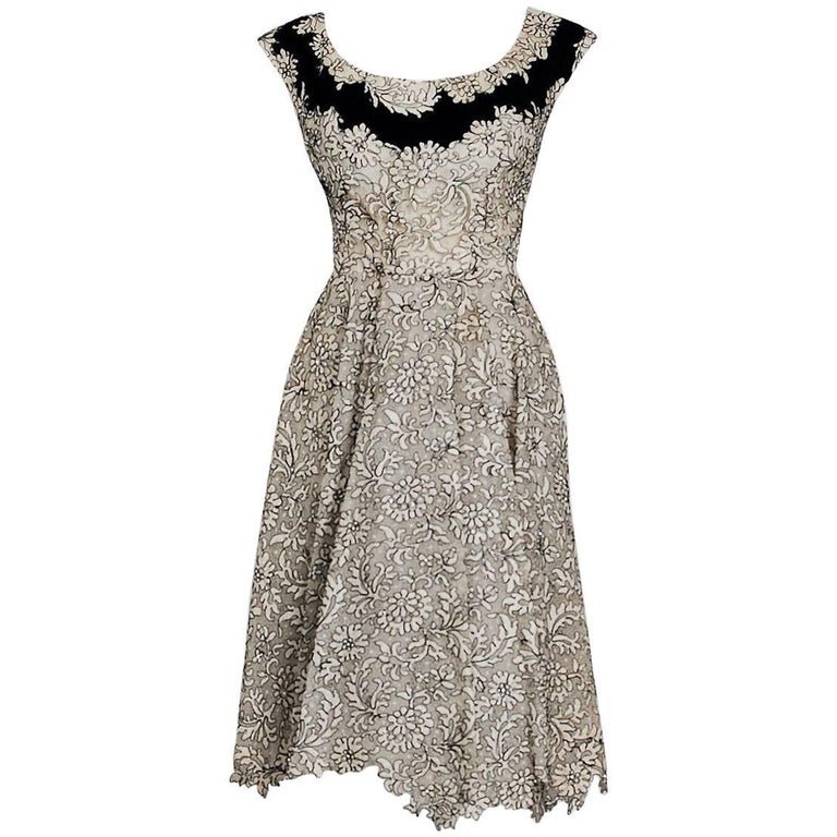 1955 Elizabeth Arden Couture Ivory Lace & Black Velvet Scalloped Party Dress