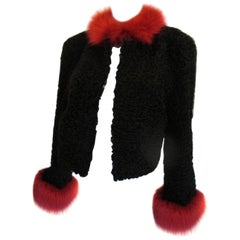 black persian lamb jacket trimmed with red fox fur
