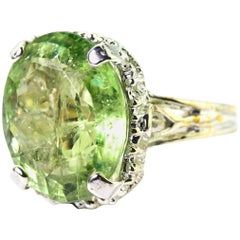 Unique 14.98 Carat Green Tourmaline Cocktail Ring