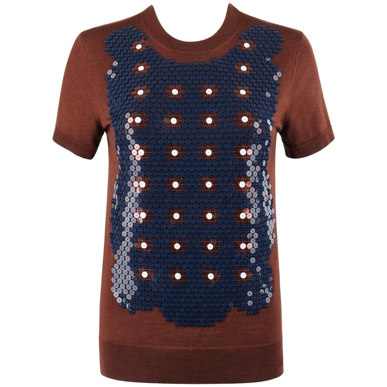 LOUIS VUITTON Resort 2013 Brown Wool Silk Knit Floral Sequin Embellished Top