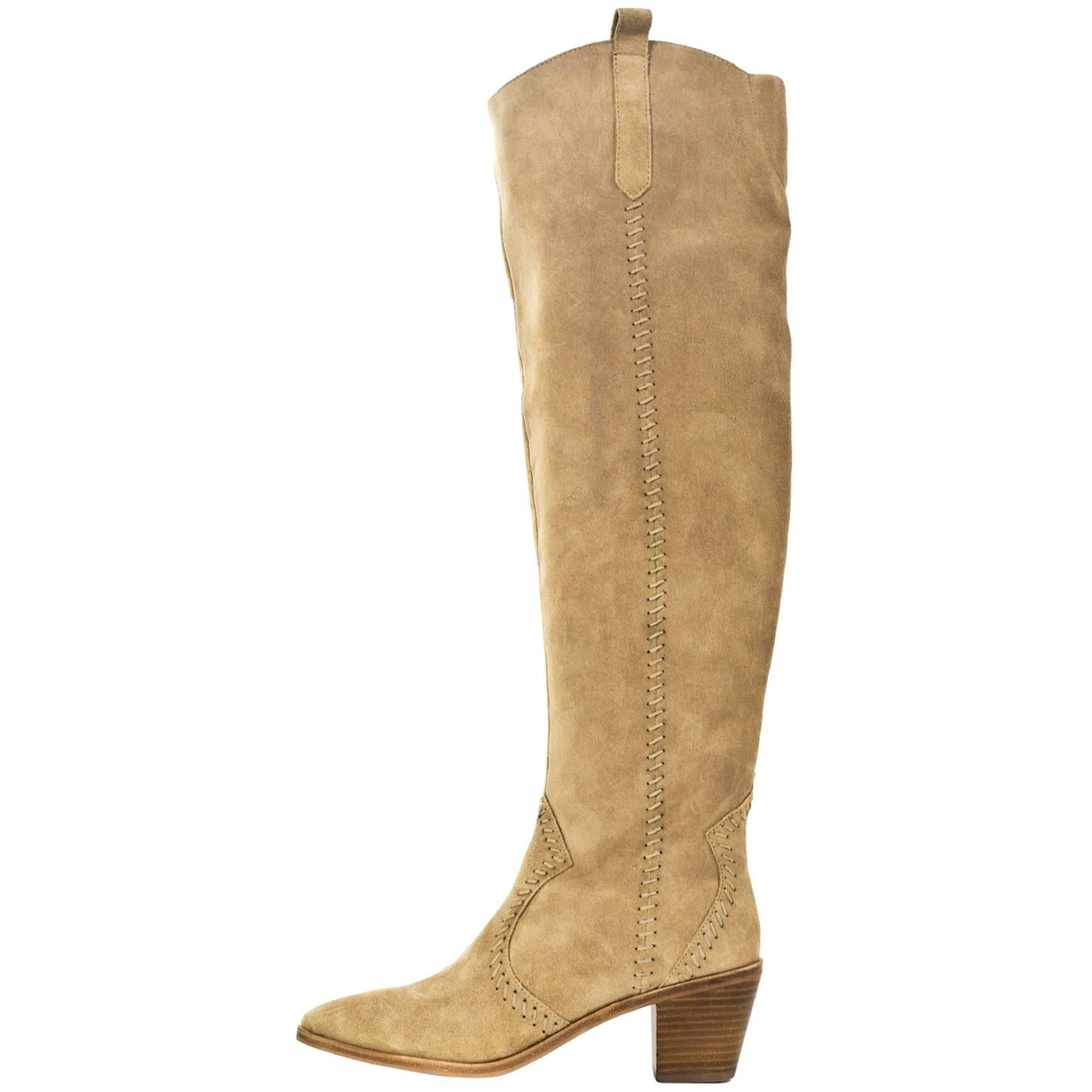 Rebecca Minkoff Beige Lizelle Over The Knee Boots Sz 9M