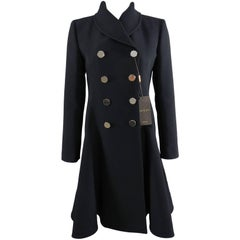 Gucci pre-fall 2014 Black Dress coat with Silver Buttons