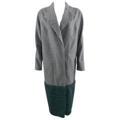 Vika Gazinskaya Grey Wool Coat with Green Faux Fur Trim
