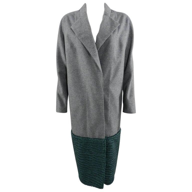 Vika Gazinskaya Grey Wool Coat with Green Faux Fur Trim