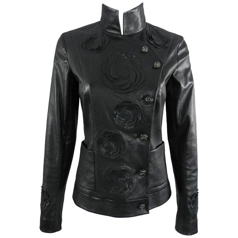 Chanel pre-fall 2010 Shanghai Paris Runway Black Camelia Leather Jacket For Sale