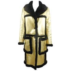 Prada Fall 2014 Runway Gold and Black Long Shearling Coat