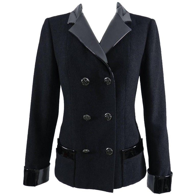 Chanel 15K Black Jacket with Patent Collar and Camelia Buttons For Sale
