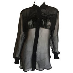 Moschino Couture black sheer fringe blouse