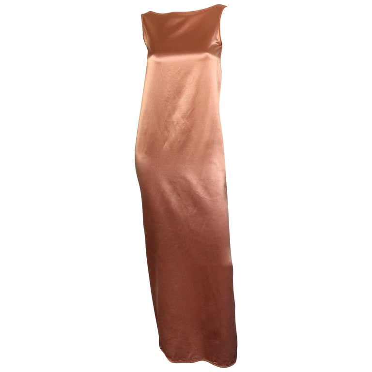 Isaac Mizrahi blush boat neck cowl back silk slip dress