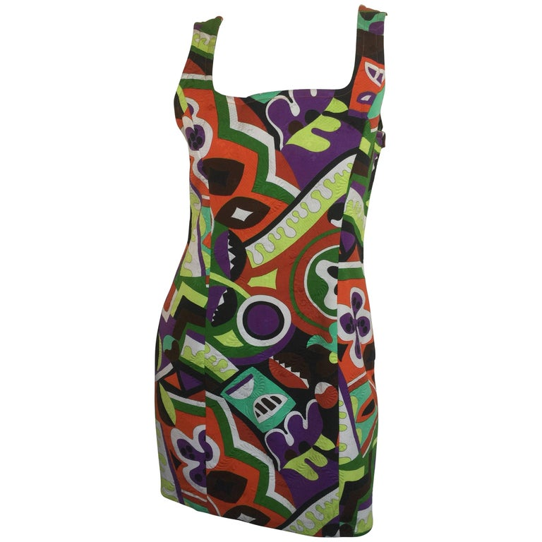 Christian Lacroix colorful abstract print mini dress
