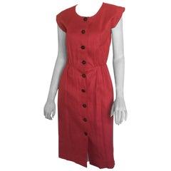 Yves Saint Laurent coral linen button down dress