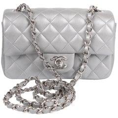 Chanel 2.55 Classic Mini Rectangular Flap Bag Crossbody - silver