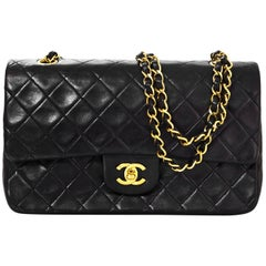 "Chanel '90s Vintage Black Lambskin Quilted Medium 10"" Double Flap Classic Bag"