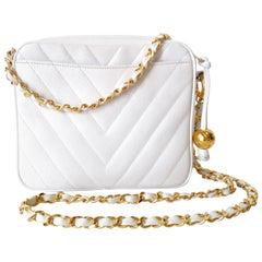1980s Chanel White Caviar Chevron Stitched Bag