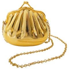 1970s Gucci Monogram Gold Metal Evening Bag