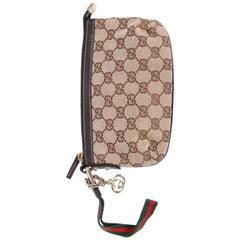 Gucci GG Canvas Wristlet Pochette Bag - beige/ebony
