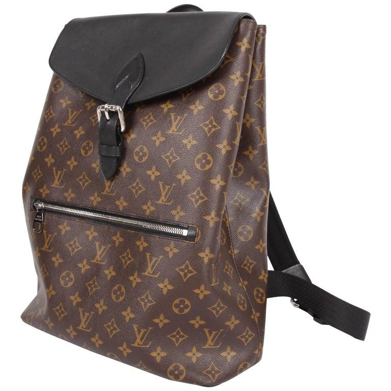 Louis Vuitton Monogram Macassar Canvas Palk Backpack Bag - brown/black For Sale