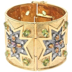 Citrine, Peridot and Amethyst, Gold Plated Over Sterling Silver Cuff Bracelet