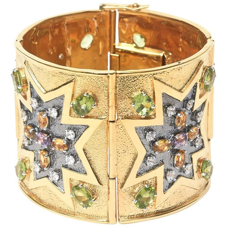 Citrine, Peridot and Amethyst, Gold Plated Over Sterling Silver Cuff Bracelet 1