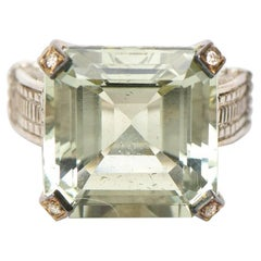 Judith Ripka Green Amethyst, Diamond, 18K White Gold and Sterling Silver Ring