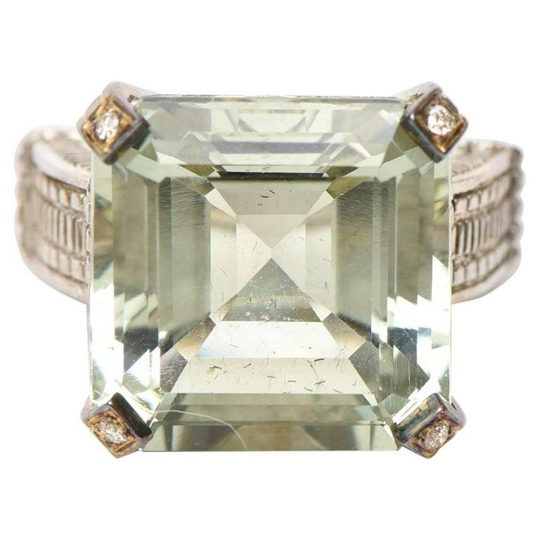 Judith Ripka Green Amethyst Diamond White Gold Sterling Silver Ring For Sale