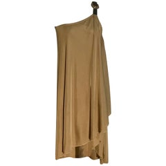 Alexander McQueen Leather Buckle Accent One Shoulder Tan Knit Draped Dress